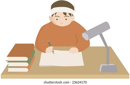 735b08a1 Immagine vettoriale a tema Retro Accountant Green Visor Desk ...
