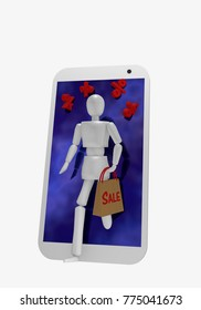 A puppet comes out of the display of a cellphone. In her hand she holds a grocery bag on the sale stands. 3d rendering
