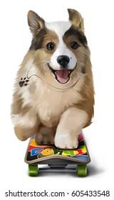 Puppy Corgi rides a skateboard watercolor painting