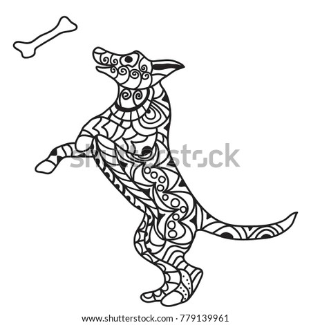Puppy Playing Jumping Bone Coloring Page Stock Illustration ...