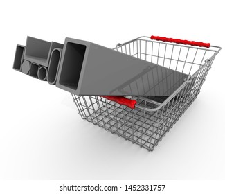 Purchase of metallurgical products. Various standard metal bars in the grocery basket. Isolated. 3D Illustration