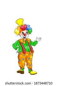Purim clown with the option to place objects in his hand