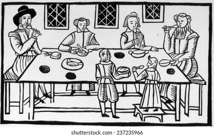 Puritan family meal, 17th century woodcut.