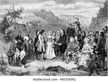 A Puritan Wedding, vintage engraved illustration. Magasin Pittoresque 1852.