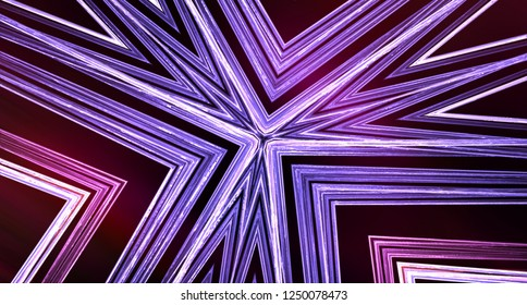 Purle polygonal curves, decorative lines for background, computer generated abstraction, 3D rendering backdrop