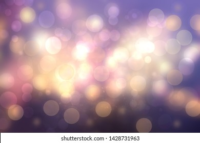 Purple abstract bokeh. Purple and blue gradient glowing background with bright blurred circles and glittering stars. Beautiful texture.