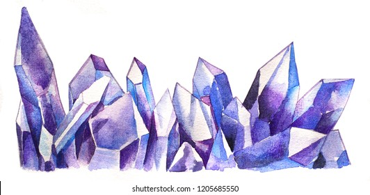 Purple amethyst crystal, healing gemstone geode cluster row hand drawn watercolor painting artwork illustration on white paper for meditation and healing soul in light worker