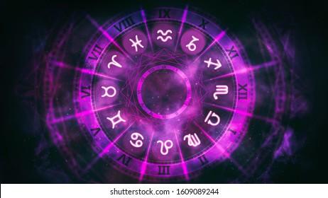 Purple astrological wheel with zodiac symbols and night starry sky. Horoscope background digital illustration.