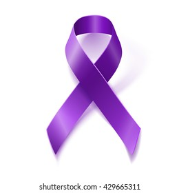 Purple awareness realistic ribbon isolated on white background with drop shadow