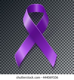 Purple awareness realistic ribbon over geometric background with drop shadow