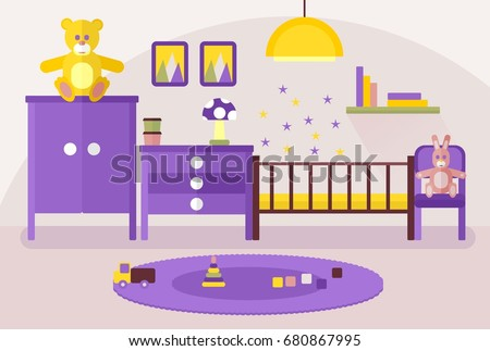 Pleasant Royalty Free Stock Illustration Of Purple Baby Room Cozy Interior Design Ideas Gresisoteloinfo