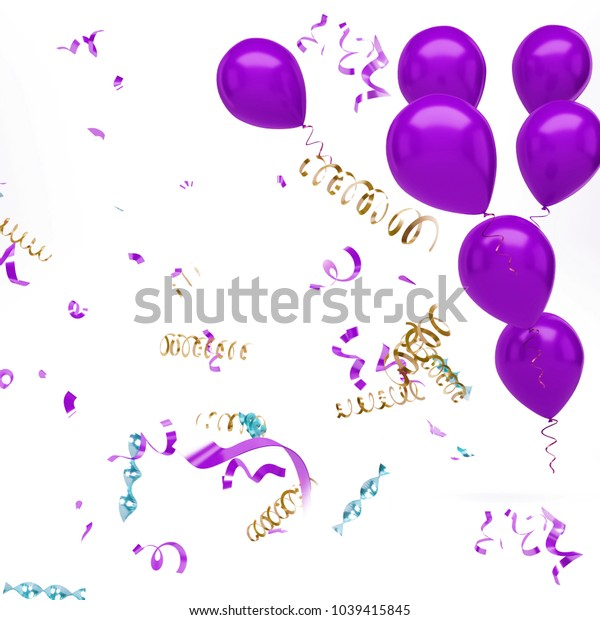 Purple baloons with confetti on top right corner isolated on white background. 3D illustration of celebration baloons