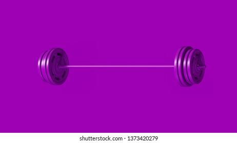 Purple Barbell 3d illustration 3d rendering