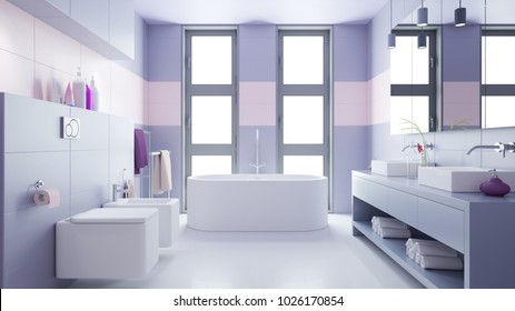 Purple bathroom with two sinks and bidet and bath (3D Rendering)