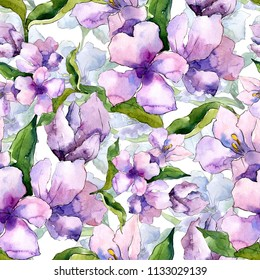 Purple and blue alstroemeria flowers. Seamless background pattern. Fabric wallpaper print texture. Aquarelle wildflower for background, texture, wrapper pattern, frame or border.
