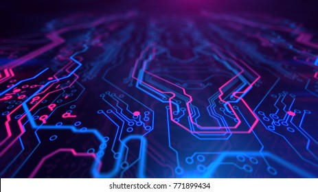 Purple, blue background with digital integrated network technology. Printed circuit board. Technology background. 3D illustration.