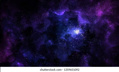 Purple blue galaxy universe with nebula and stars. Mystery crystal aurora glowing light.