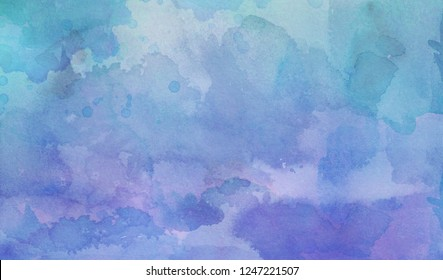 purple and blue green watercolor wash background with fringe bleed and bloom blotches in grainy watercolor paint on paper texture