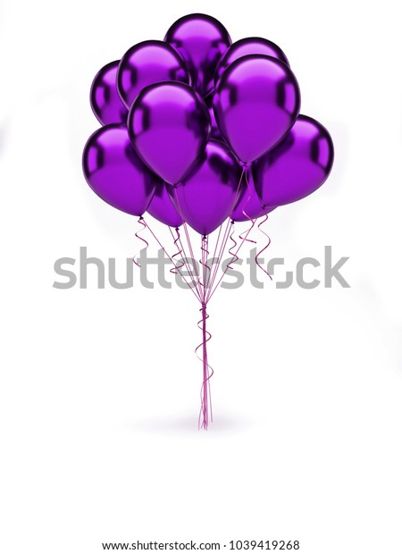 Purple bundle of metallic baloons with gold ribbons isolated on white background. 3D illustration of celebration, party baloons