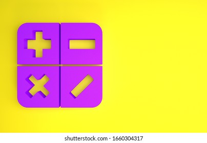 Purple Calculator icon isolated on yellow background. Accounting symbol. Business calculations mathematics education and finance. Minimalism concept. 3d illustration 3D render