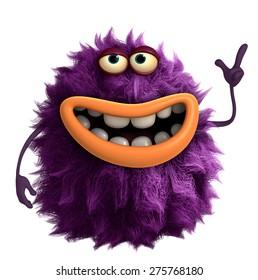 purple cartoon hairy monster 3d