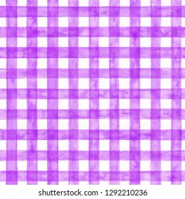 Purple checked watercolor pattern. Fabric background.