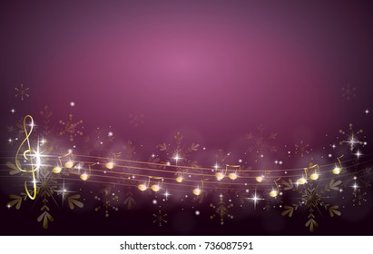 Purple christmas background decorated with golden music notes