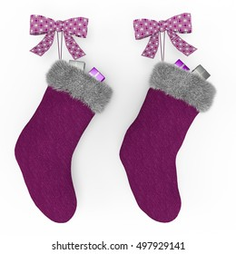 purple christmas stockings on the mantel isolated on white background 3d rendering illustration - Purple Christmas Stockings