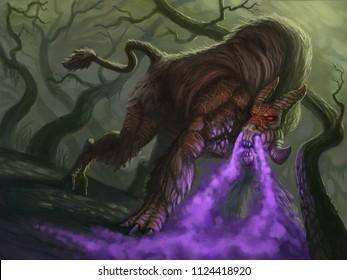 Purple cloud breathing fantasy animal posing in the woods - digital fantasy painting