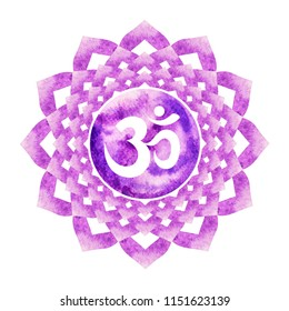 purple color of chakra symbol crown concept, flower floral, watercolor painting hand drawn icon logo, illustration design sign