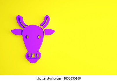 Purple Cow head icon isolated on yellow background. Minimalism concept. 3d illustration 3D render.