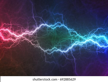 Purple and cyan lightning, power and energy abstract