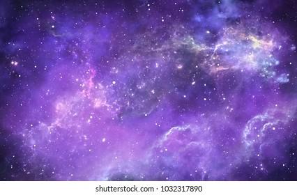 Purple deep space nebula with stars, 3D illustration