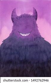 a purple devil monster, hand drawn watercolor illustration.