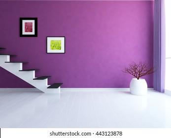 Purple empty room with stairs. Living room interior. Scandinavian interior. 3d illustration