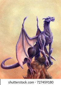 Purple fantasy dragon climbing on a rock in a sunset / sunrise environment with fire digital illustration