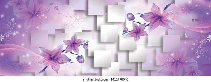 purple flowers 3d squares background