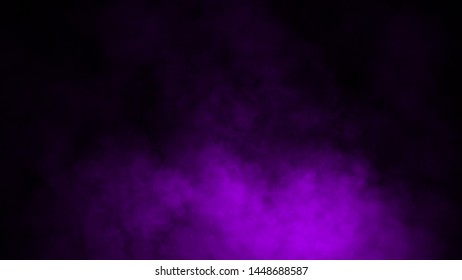 Purple fog and mist effect on isolated black background for text or space. Texture smoke