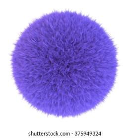 Purple fur sphere, 3D render