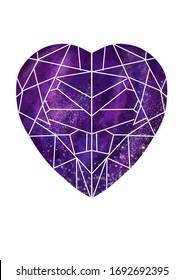 Purple Geometric heart in cosmic world