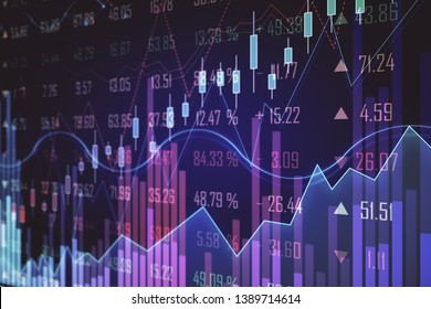 Purple glowing forex chart backdrop with grid. Invest and trade concept. 3D Rendering