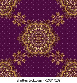 Purple and golden textile print. Seamless pattern oriental ornament. Floral tiles. Islamic design.