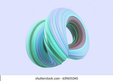 purple and green colored abstract twisted shape isolated on purple background. Computer generated geometric. 3D rendering.