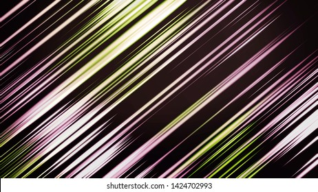 Purple and green flashing lines blinking slowly, seamless loop. Animation. Abstract neon glowing narrow lines in slow motion on dark background.