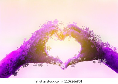 purple hand-shaped heart symbol, i love you hand sign, Abstract brushed painted background, abstract oil painted texture, made from photo editor