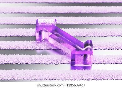 Purple Horizontal Arrows Icon on the Gray Striped Pattern. 3D Illustration of Purple Arrows, Bi Directional, Horizontal, Pass Icon Set With Stripes Gray Background.