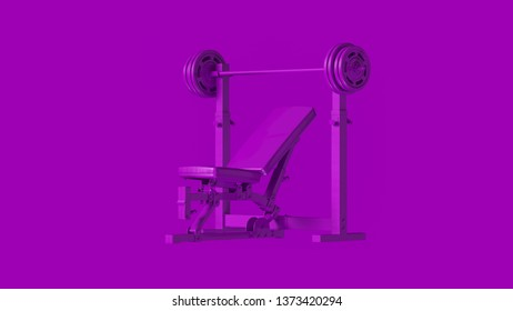 Purple Incline Weight Bench 3d illustration