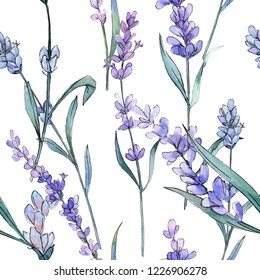 Purple lavender. Floral botanical flower. Isolated lavender illustration. Watercolor background illustration set. Seamless background pattern. Fabric wallpaper print texture.