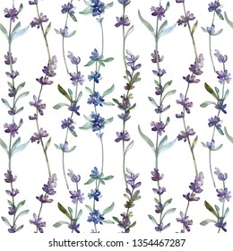 Purple lavender floral botanical flower. Wild spring leaf wildflower. Watercolor illustration set. Watercolour drawing fashion aquarelle. Seamless background pattern. Fabric wallpaper print texture.