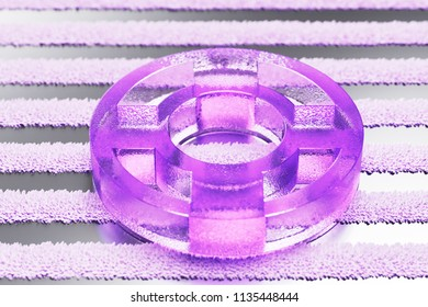 Purple Life Ring Icon on the Gray Striped Pattern. 3D Illustration of Purple Floatation Device, Guardar, Life Buoy, Life Ring, Life Save Icon Set With Stripes Gray Background.